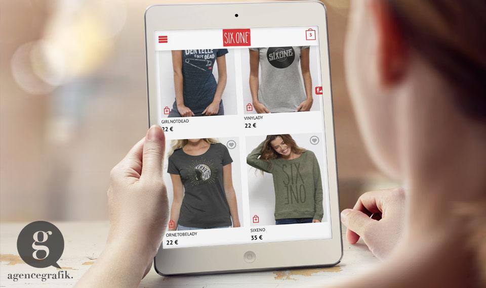 Réalisation de la boutique en ligne Six One | agencegrafik.